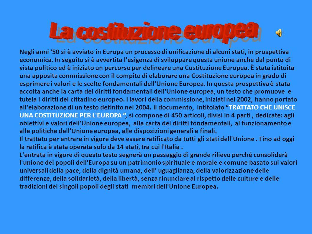 Negli anni 50 si è avviato in Europa un processo di unificazione di alcuni stati, in prospettiva economica. In seguito si è avvertita l'esigenza di sv