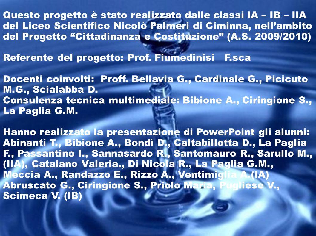Questo progetto è stato realizzato dalle classi IA – IB – IIA del Liceo Scientifico Nicolò Palmeri di Ciminna, nellambito del Progetto Cittadinanza e