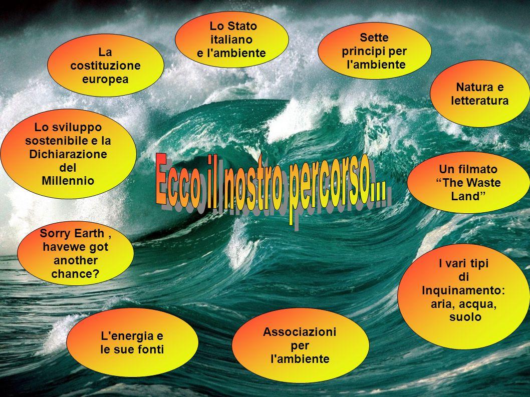 Sorry Earth, havewe got another chance? Lo Stato italiano e l'ambiente Sette principi per l'ambiente Associazioni per l'ambiente Lo sviluppo sostenibi