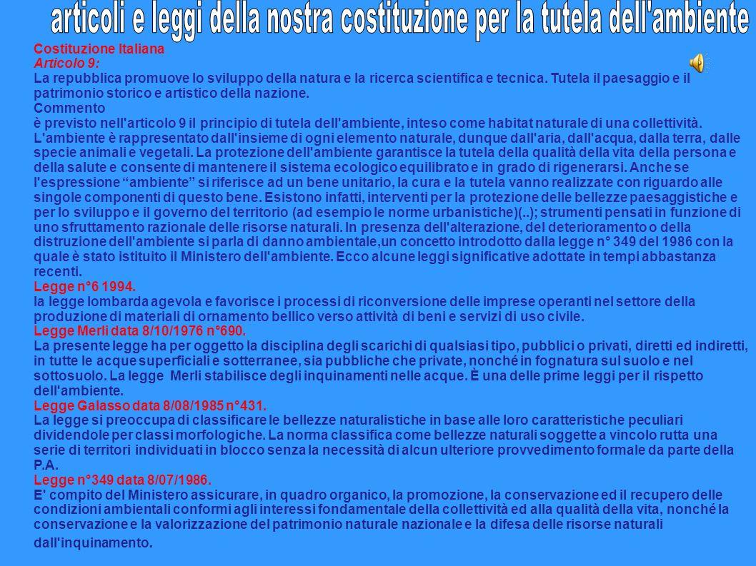 Costituzione Italiana Articolo 9: La repubblica promuove lo sviluppo della natura e la ricerca scientifica e tecnica. Tutela il paesaggio e il patrimo