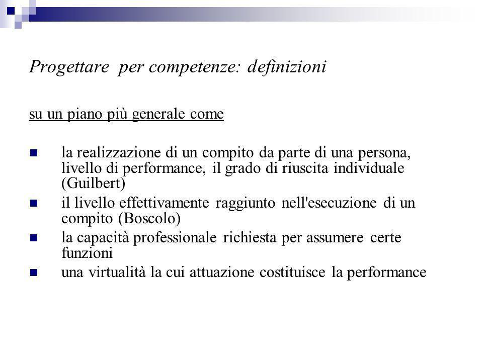 Progettare per competenze: definizioni su un piano più generale come la realizzazione di un compito da parte di una persona, livello di performance, il grado di riuscita individuale (Guilbert) il livello effettivamente raggiunto nell esecuzione di un compito (Boscolo) la capacità professionale richiesta per assumere certe funzioni una virtualità la cui attuazione costituisce la performance