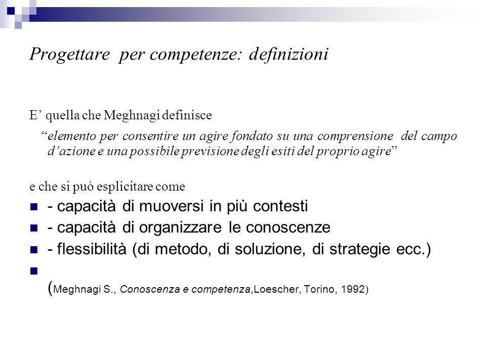 Progettare per competenze: definizioni E quella che Meghnagi definisce elemento per consentire un agire fondato su una comprensione del campo dazione e una possibile previsione degli esiti del proprio agire e che si può esplicitare come - capacità di muoversi in più contesti - capacità di organizzare le conoscenze - flessibilità (di metodo, di soluzione, di strategie ecc.) ( Meghnagi S., Conoscenza e competenza,Loescher, Torino, 1992)