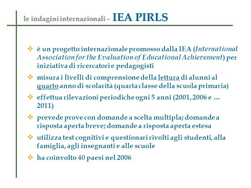 le indagini internazionali – IEA PIRLS è un progetto internazionale promosso dalla IEA ( International Association for the Evaluation of Educational A