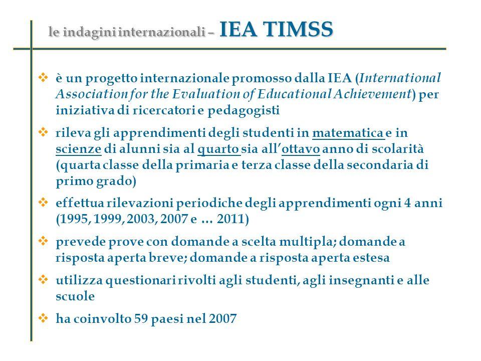 le indagini internazionali – IEA TIMSS è un progetto internazionale promosso dalla IEA ( International Association for the Evaluation of Educational A