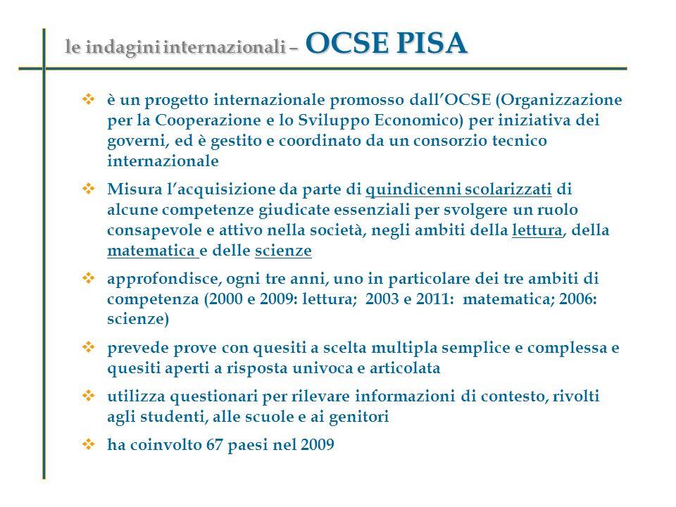 le indagini internazionali – OCSE PISA è un progetto internazionale promosso dallOCSE (Organizzazione per la Cooperazione e lo Sviluppo Economico) per