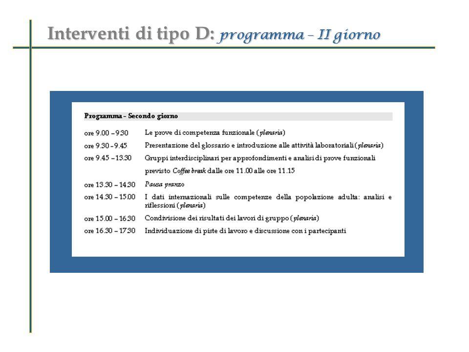 Interventi di tipo D: programma – II giorno