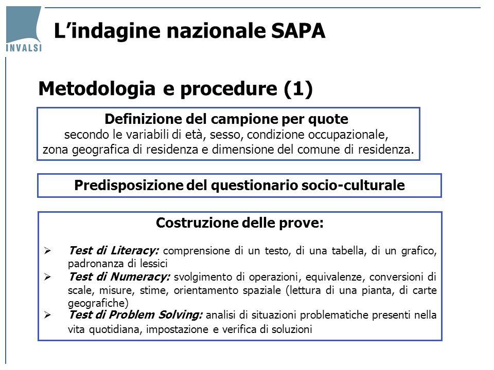 Metodologia e procedure (1) Definizione del campione per quote secondo le variabili di età, sesso, condizione occupazionale, zona geografica di residenza e dimensione del comune di residenza.