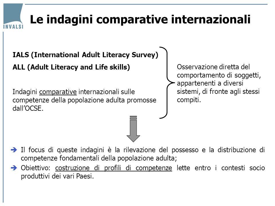 Le indagini comparative internazionali Il focus di queste indagini è la rilevazione del possesso e la distribuzione di competenze fondamentali della p