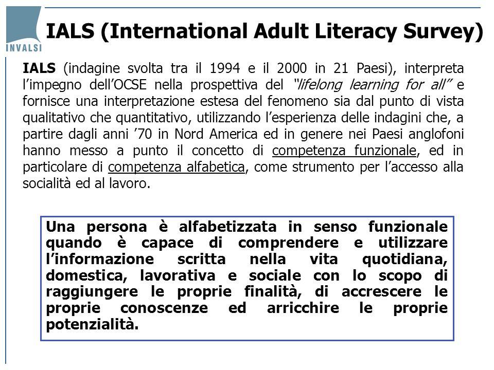 IALS (International Adult Literacy Survey) Una persona è alfabetizzata in senso funzionale quando è capace di comprendere e utilizzare linformazione s