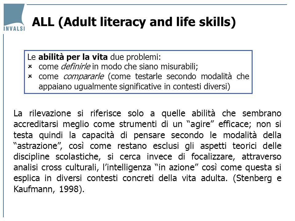 ALL (Adult literacy and life skills) Le prove consistono nellapplicare regole e procedure, nel produrre stime, decisioni e scelte, che permettono, in qualche misura, di suggerire fino a che punto il soggetto riesce ad essere autonomo nel disporre della sua capacità cognitiva.