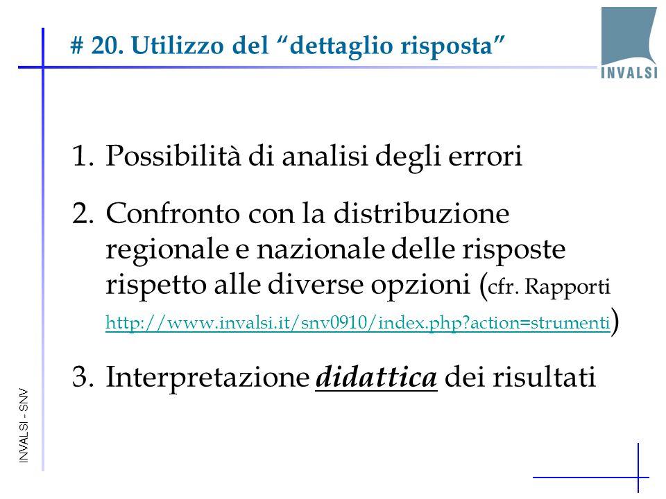 # 20. Utilizzo del dettaglio risposta INVALSI - SNV 1.Possibilità di analisi degli errori 2.Confronto con la distribuzione regionale e nazionale delle