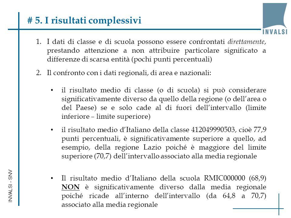 INVALSI - SNV # 5. I risultati complessivi 1.I dati di classe e di scuola possono essere confrontati direttamente, prestando attenzione a non attribui