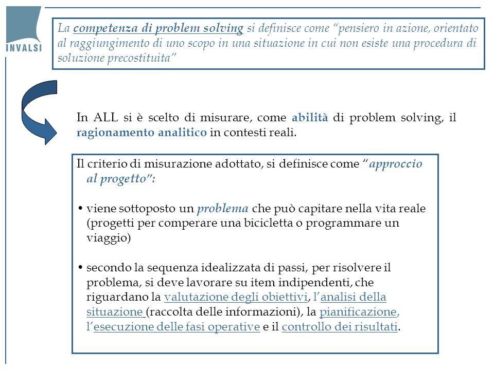La competenza di problem solving si definisce come pensiero in azione, orientato al raggiungimento di uno scopo in una situazione in cui non esiste una procedura di soluzione precostituita In ALL si è scelto di misurare, come abilità di problem solving, il ragionamento analitico in contesti reali.