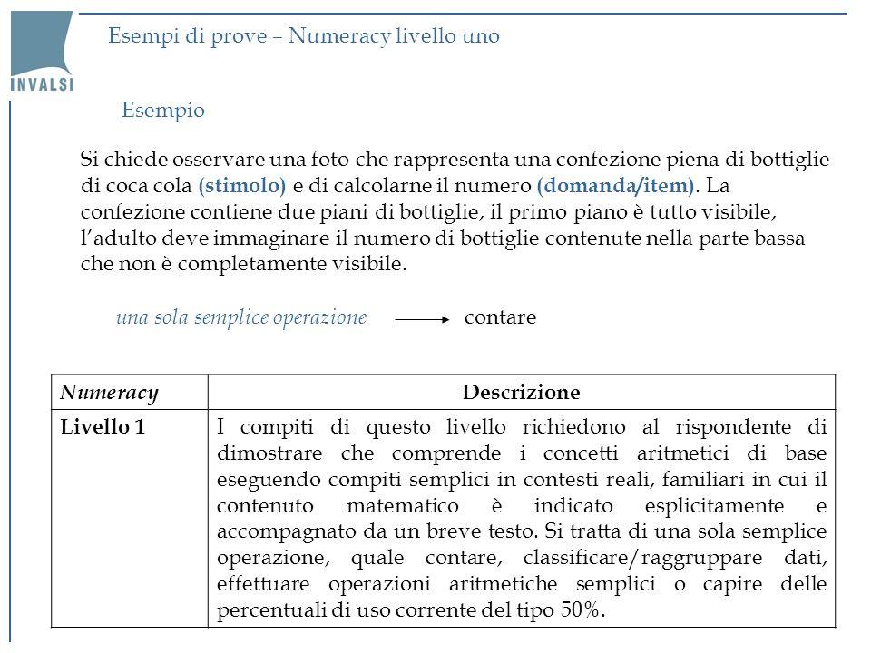 Esempi di prove – Numeracy livello uno Si chiede osservare una foto che rappresenta una confezione piena di bottiglie di coca cola (stimolo) e di calcolarne il numero (domanda/item).
