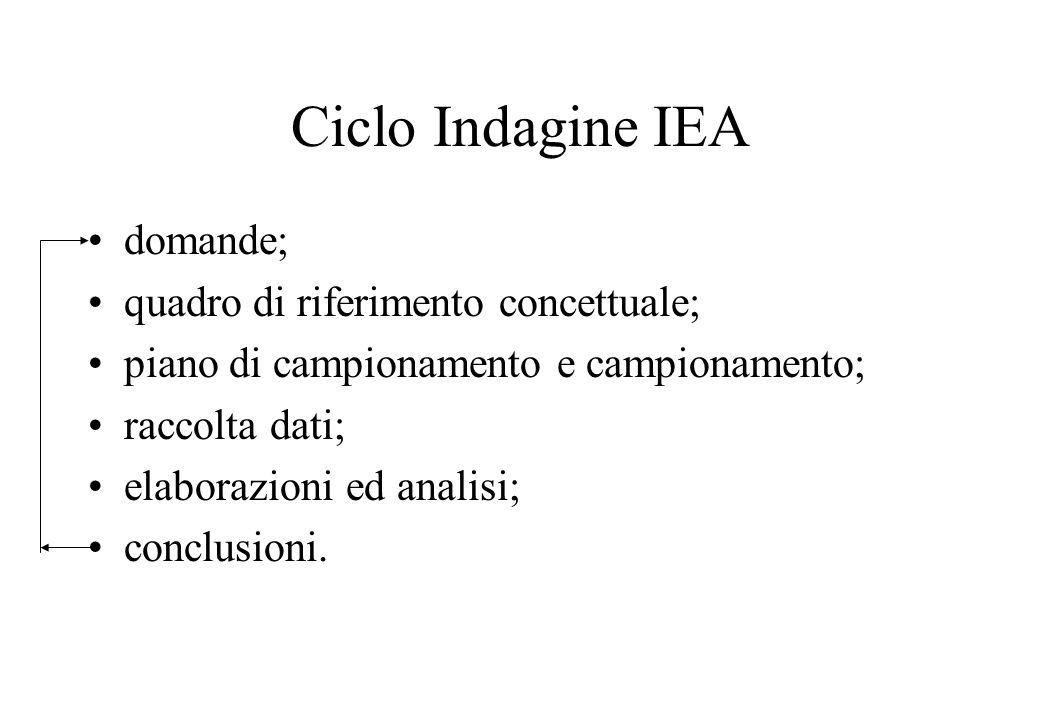 Ciclo Indagine IEA domande; quadro di riferimento concettuale; piano di campionamento e campionamento; raccolta dati; elaborazioni ed analisi; conclus