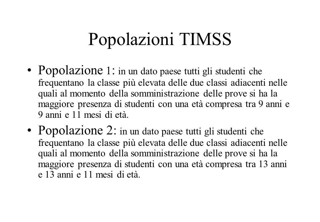 Popolazioni TIMSS Popolazione 1 : in un dato paese tutti gli studenti che frequentano la classe più elevata delle due classi adiacenti nelle quali al