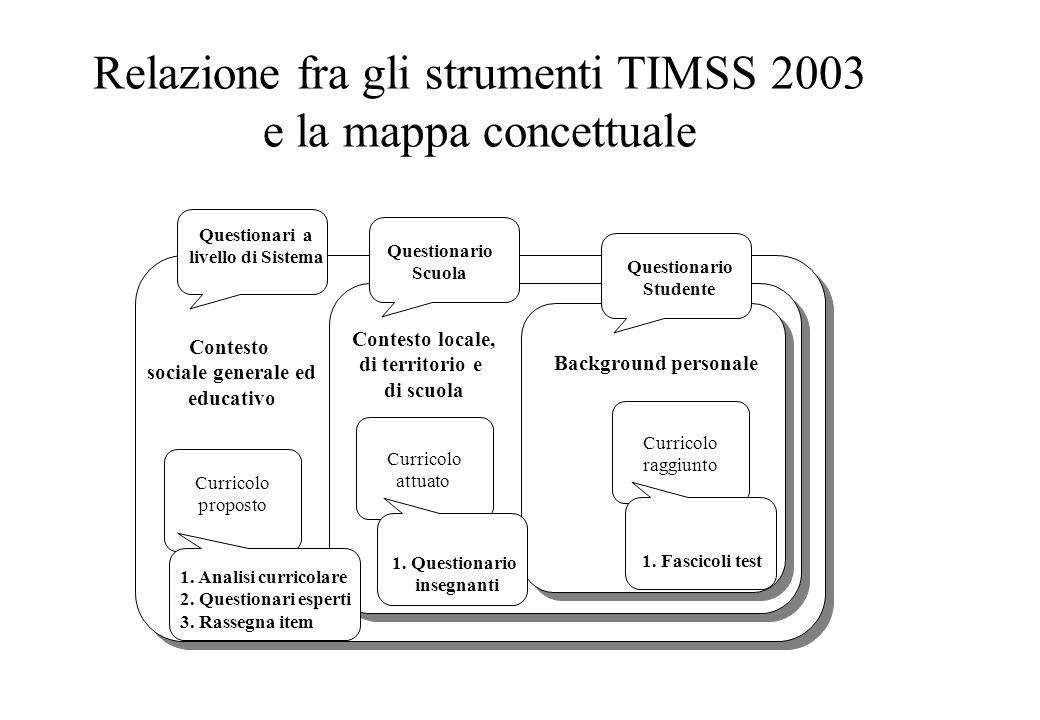 Relazione fra gli strumenti TIMSS 2003 e la mappa concettuale Questionari a livello di Sistema Questionario Scuola Questionario Studente Contesto soci