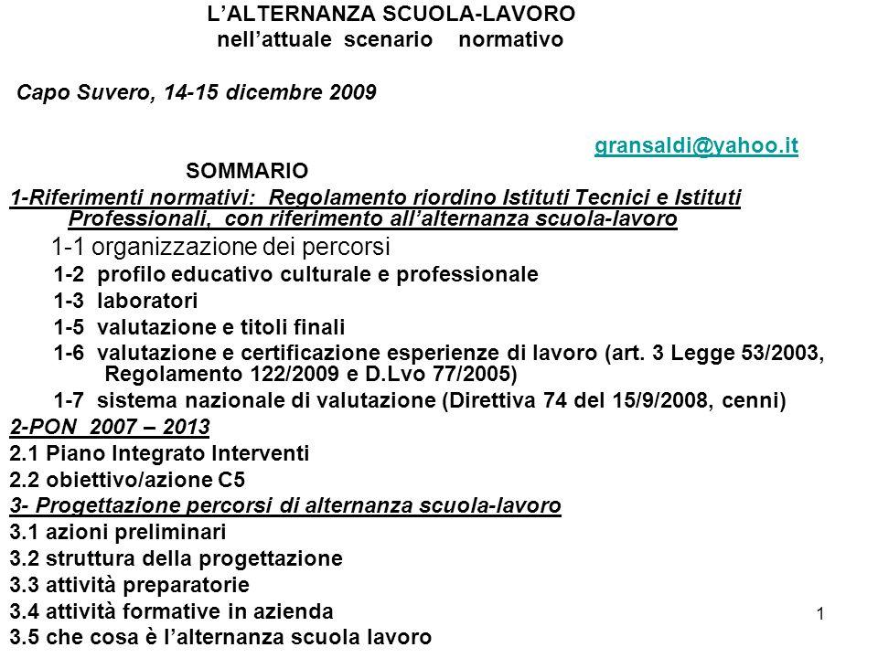1 LALTERNANZA SCUOLA-LAVORO nellattuale scenario normativo Capo Suvero, 14-15 dicembre 2009 gransaldi@yahoo.it SOMMARIO 1-Riferimenti normativi: Regol