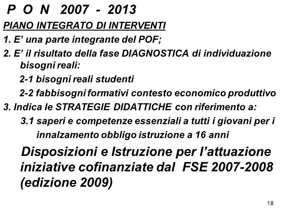18 P O N 2007 - 2013 PIANO INTEGRATO DI INTERVENTI 1. E una parte integrante del POF; 2. E il risultato della fase DIAGNOSTICA di individuazione bisog