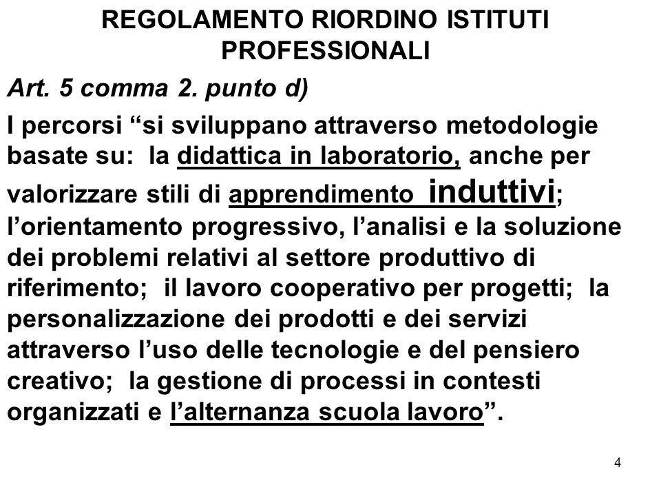4 REGOLAMENTO RIORDINO ISTITUTI PROFESSIONALI Art. 5 comma 2. punto d) I percorsi si sviluppano attraverso metodologie basate su: la didattica in labo
