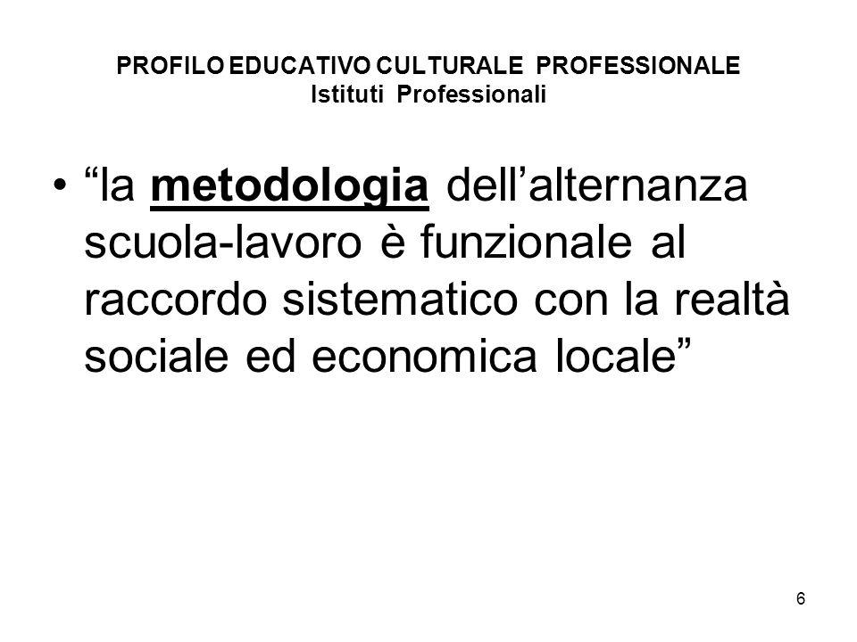 6 PROFILO EDUCATIVO CULTURALE PROFESSIONALE Istituti Professionali la metodologia dellalternanza scuola-lavoro è funzionale al raccordo sistematico co