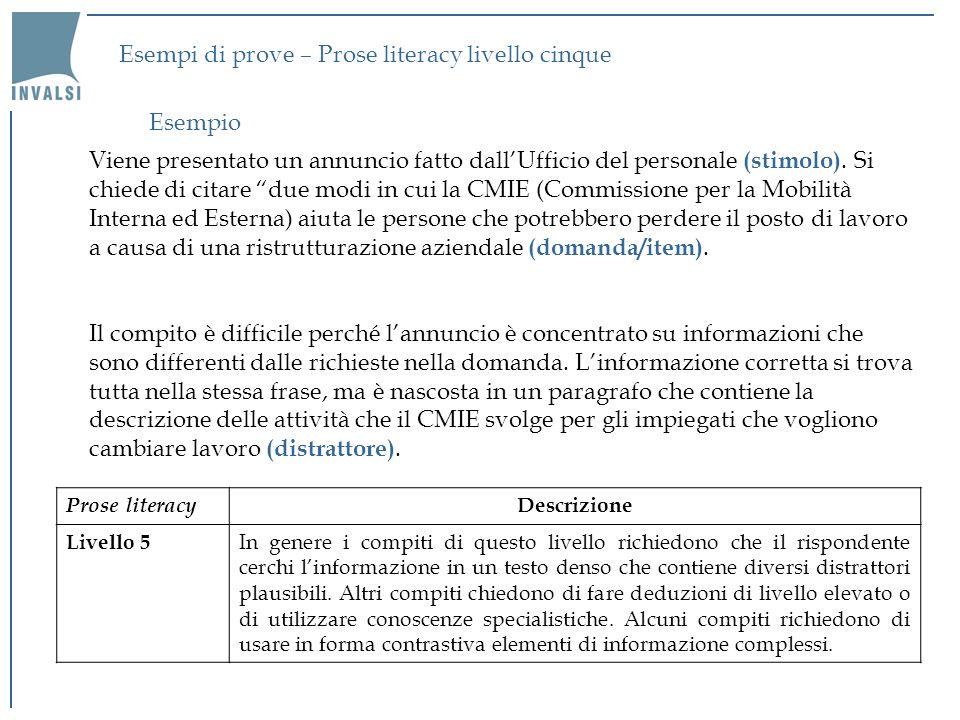 Esempi di prove – Prose literacy livello cinque Viene presentato un annuncio fatto dallUfficio del personale (stimolo). Si chiede di citare due modi i