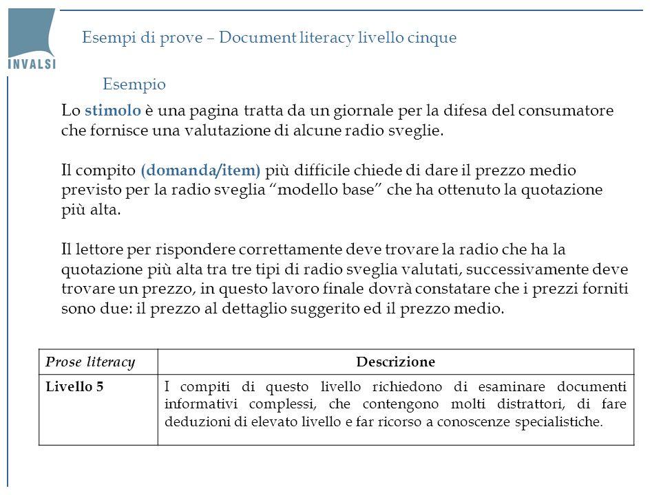 Esempi di prove – Document literacy livello cinque Lo stimolo è una pagina tratta da un giornale per la difesa del consumatore che fornisce una valuta