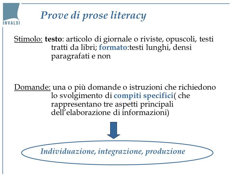 Individuazione Richiedono di rintracciare nel testo delle informazioni in base a determinati presupposti o caratteristiche specificate nella domanda o istruzione.