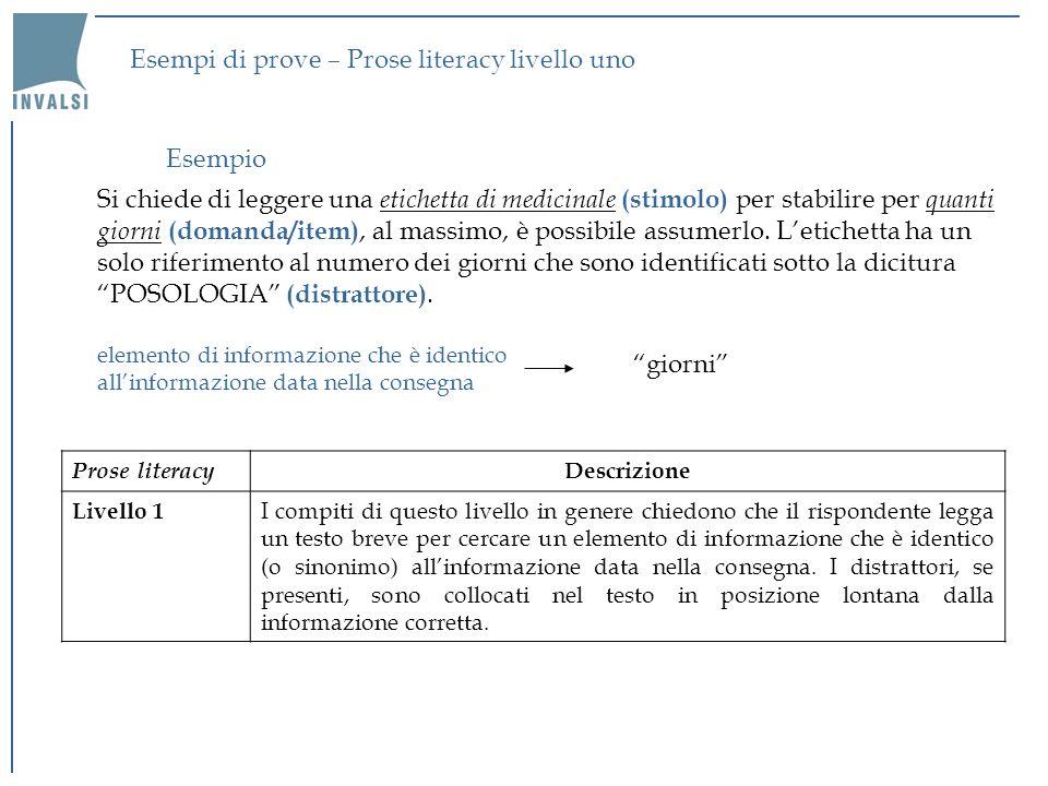 Esempi di prove – Prose literacy livello uno Si chiede di leggere una etichetta di medicinale (stimolo) per stabilire per quanti giorni (domanda/item)