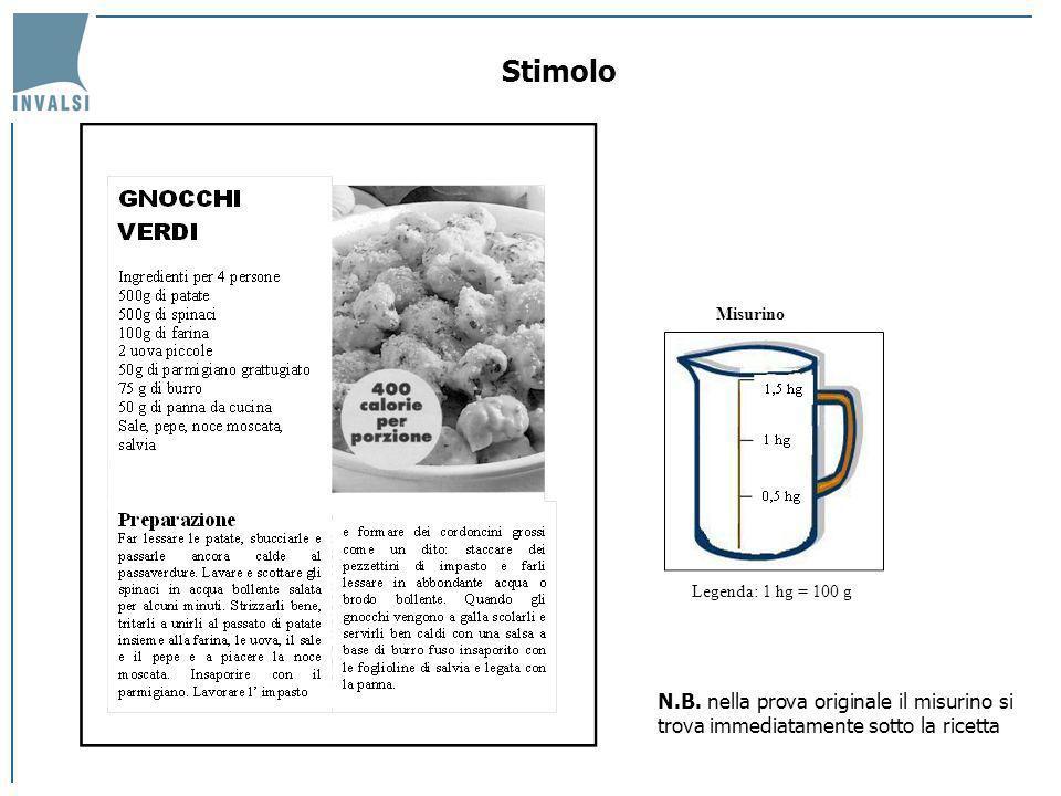 Legenda: 1 hg = 100 g Misurino Stimolo N.B. nella prova originale il misurino si trova immediatamente sotto la ricetta