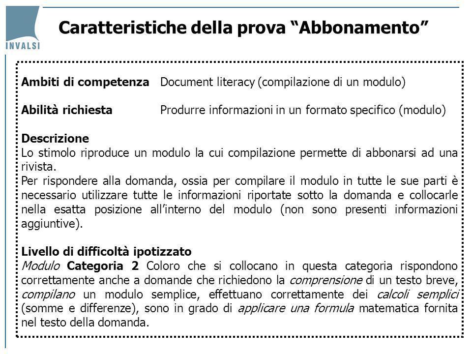 Caratteristiche della prova Abbonamento Ambiti di competenzaDocument literacy (compilazione di un modulo) Abilità richiestaProdurre informazioni in un