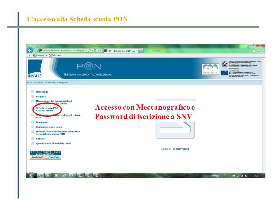 Laccesso alla Scheda scuola PON Accesso con Meccanografico e Password di iscrizione a SNV