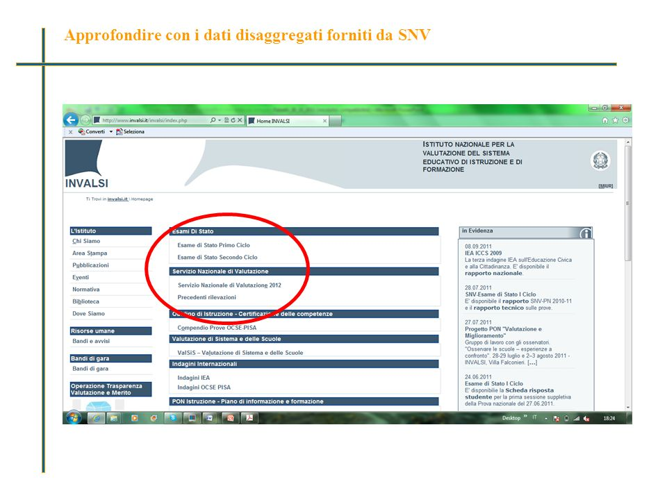 Approfondire con i dati disaggregati forniti da SNV