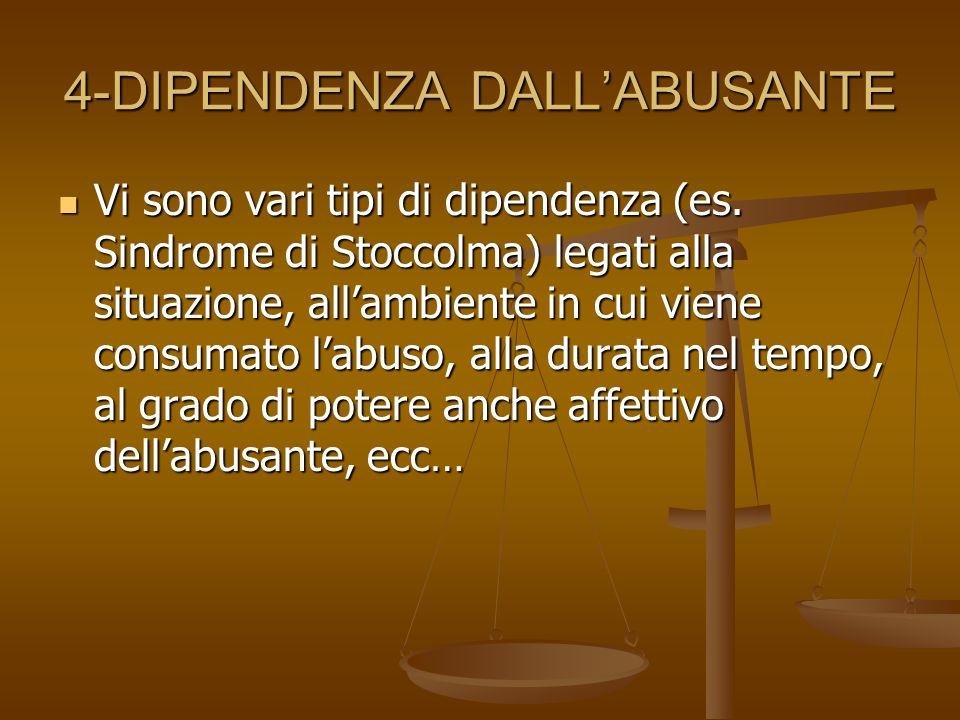 4-DIPENDENZA DALLABUSANTE Vi sono vari tipi di dipendenza (es. Sindrome di Stoccolma) legati alla situazione, allambiente in cui viene consumato labus