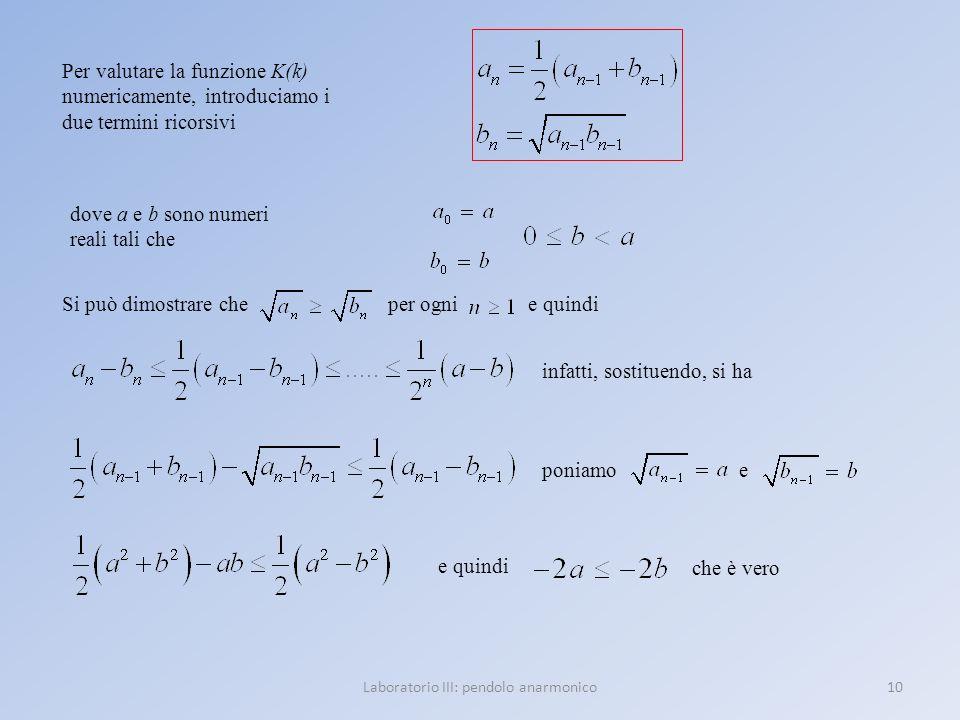 10Laboratorio III: pendolo anarmonico Per valutare la funzione K(k) numericamente, introduciamo i due termini ricorsivi dove a e b sono numeri reali t