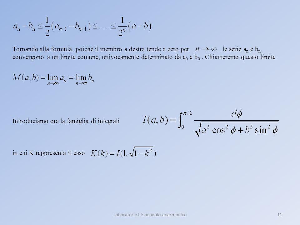 Laboratorio III: pendolo anarmonico11 Tornando alla formula, poiché il membro a destra tende a zero per, le serie a n e b n convergono a un limite com