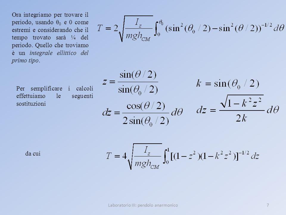 7Laboratorio III: pendolo anarmonico Ora integriamo per trovare il periodo, usando θ 0 e 0 come estremi e considerando che il tempo trovato sarà ¼ del