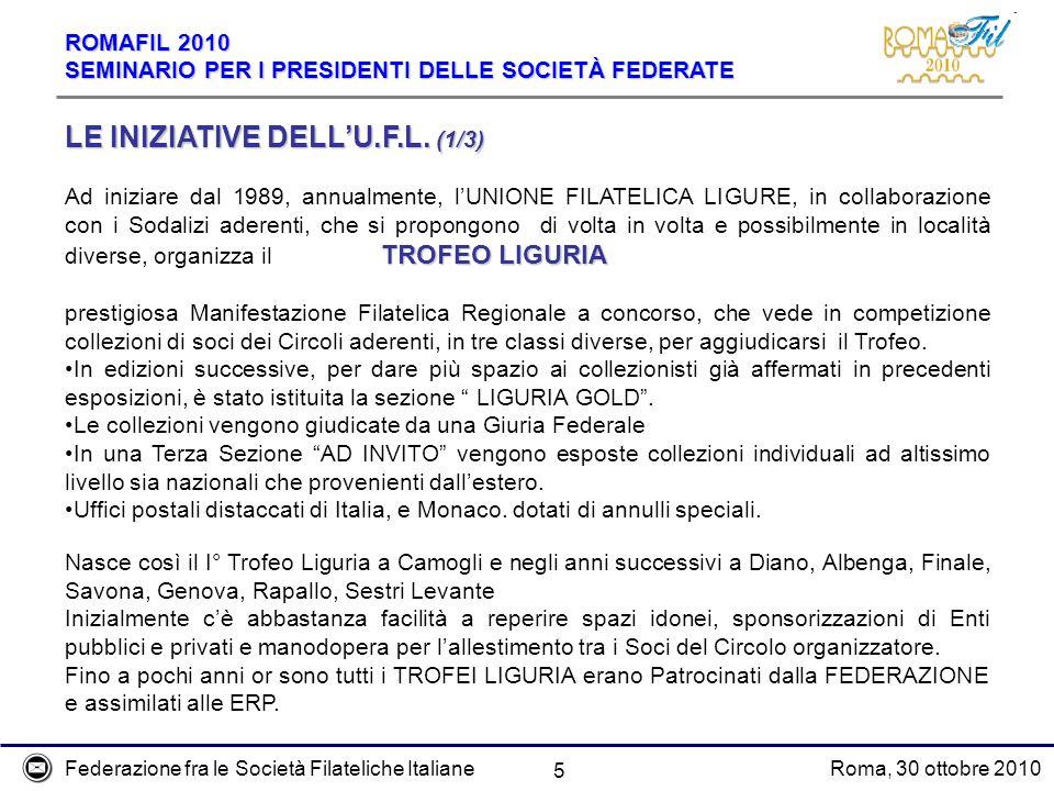 Federazione fra le Società Filateliche ItalianeRoma, 30 ottobre 2010 ROMAFIL 2010 SEMINARIO PER I PRESIDENTI DELLE SOCIETÀ FEDERATE 5 LE INIZIATIVE DELLU.F.L.