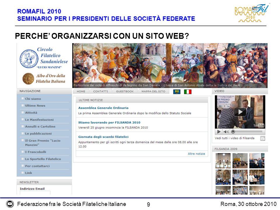 Federazione fra le Società Filateliche ItalianeRoma, 30 ottobre 2010 ROMAFIL 2010 SEMINARIO PER I PRESIDENTI DELLE SOCIETÀ FEDERATE 9 PERCHE ORGANIZZA