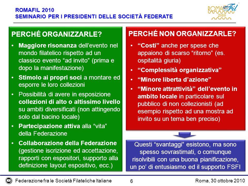 Federazione fra le Società Filateliche ItalianeRoma, 30 ottobre 2010 ROMAFIL 2010 SEMINARIO PER I PRESIDENTI DELLE SOCIETÀ FEDERATE 6 PERCHÉ ORGANIZZARLE.