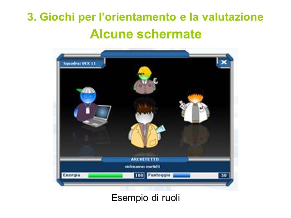 Alcune schermate Esempio di ruoli 3. Giochi per lorientamento e la valutazione