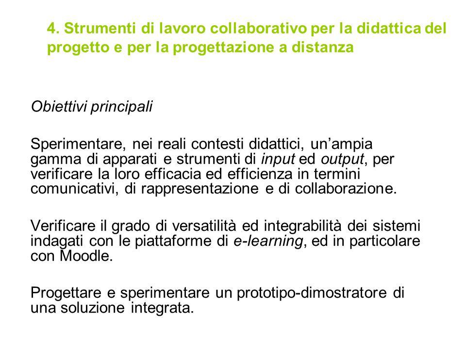 4. Strumenti di lavoro collaborativo per la didattica del progetto e per la progettazione a distanza Obiettivi principali Sperimentare, nei reali cont
