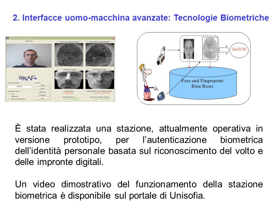 Face and Fingerprint Data Bases MATCH È stata realizzata una stazione, attualmente operativa in versione prototipo, per lautenticazione biometrica del