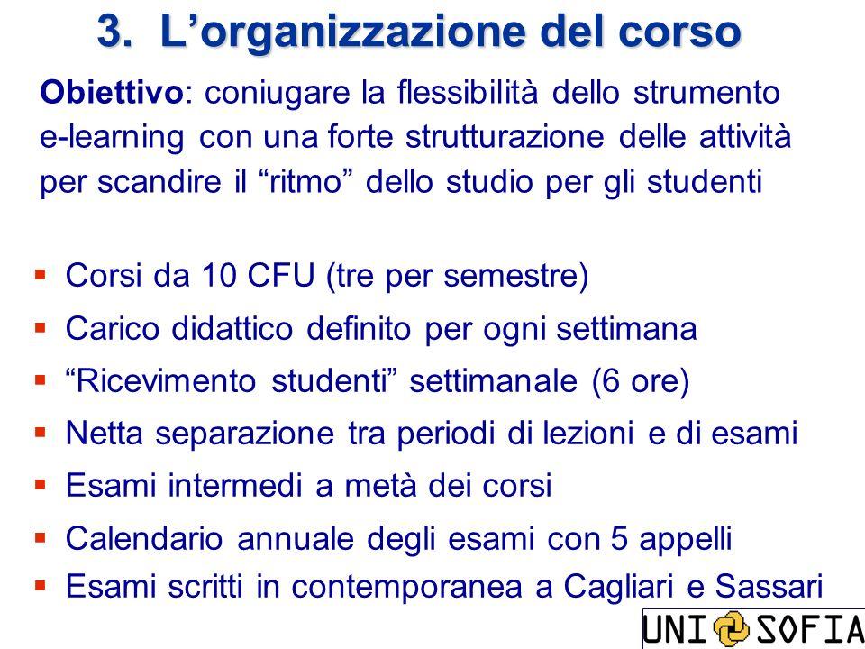 Corsi da 10 CFU (tre per semestre) Carico didattico definito per ogni settimana Ricevimento studenti settimanale (6 ore) Netta separazione tra periodi