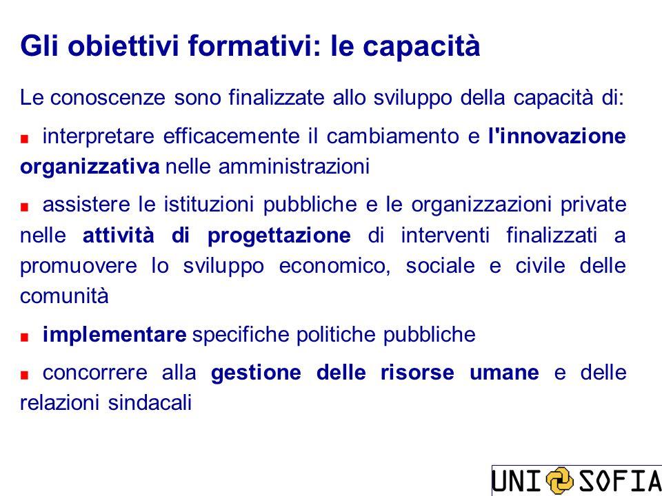 Gli obiettivi formativi: le capacità Le conoscenze sono finalizzate allo sviluppo della capacità di: interpretare efficacemente il cambiamento e l'inn