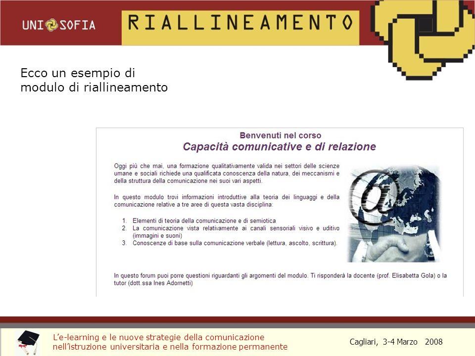 Cagliari, 3-4 Marzo 2008 Le-learning e le nuove strategie della comunicazione nellistruzione universitaria e nella formazione permanente Ecco un esempio di modulo di riallineamento