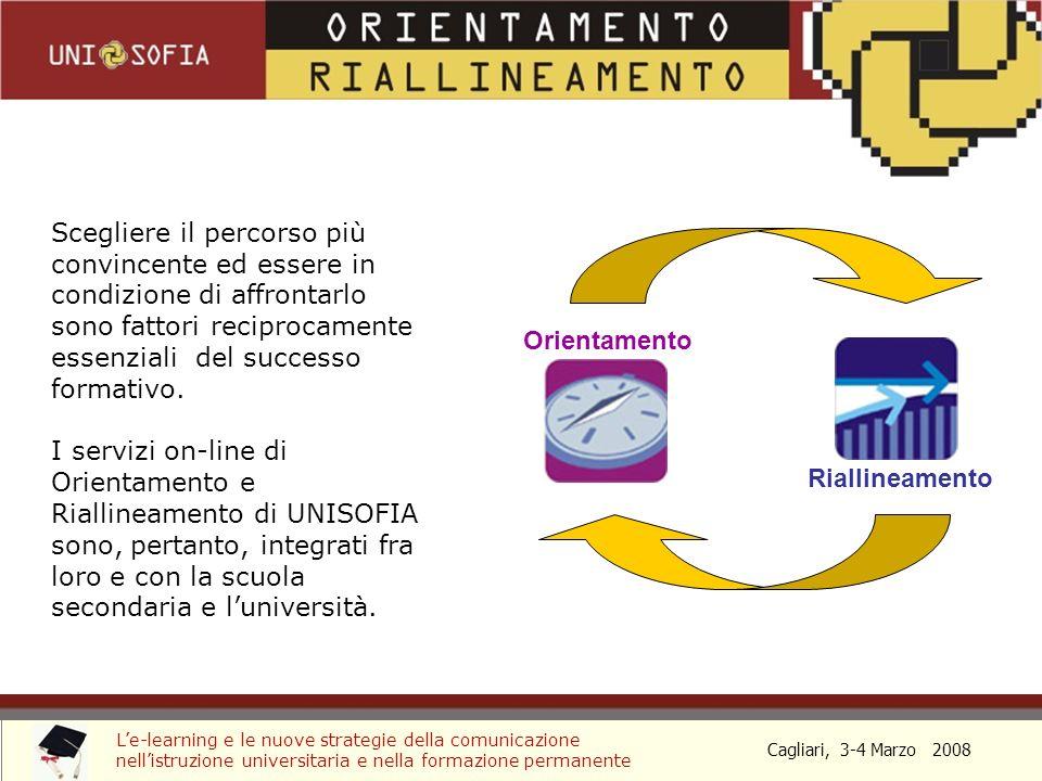 Cagliari, 3-4 Marzo 2008 Le-learning e le nuove strategie della comunicazione nellistruzione universitaria e nella formazione permanente Orientamento Riallineamento Scegliere il percorso più convincente ed essere in condizione di affrontarlo sono fattori reciprocamente essenziali del successo formativo.