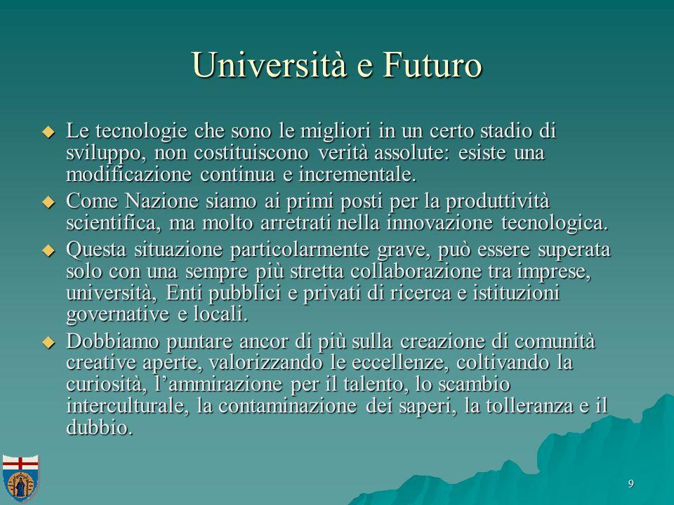 9 Università e Futuro Le tecnologie che sono le migliori in un certo stadio di sviluppo, non costituiscono verità assolute: esiste una modificazione continua e incrementale.