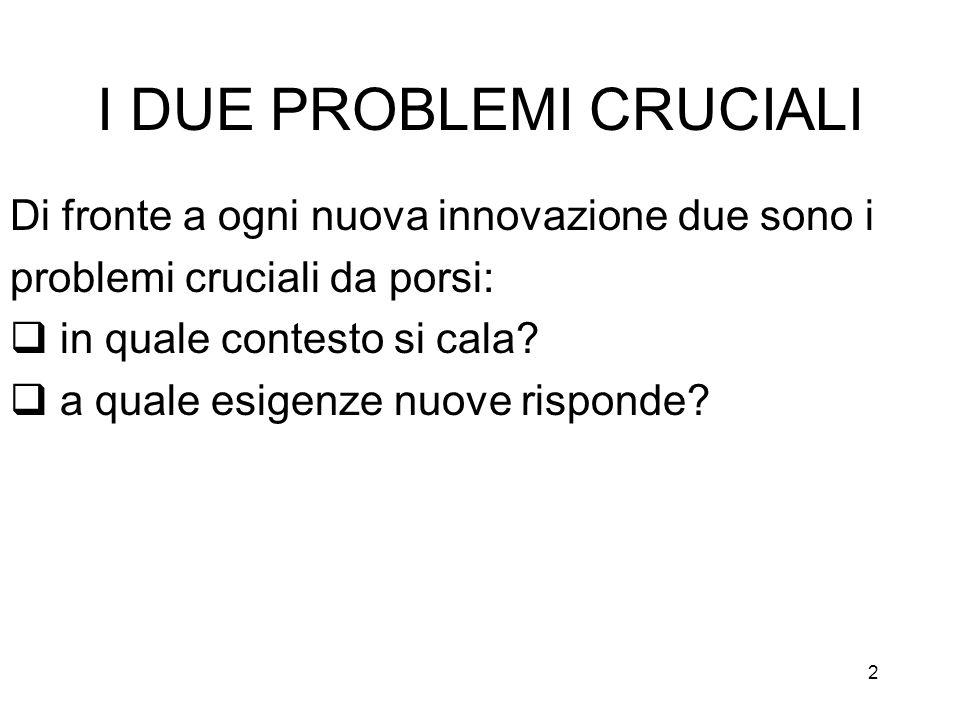 2 I DUE PROBLEMI CRUCIALI Di fronte a ogni nuova innovazione due sono i problemi cruciali da porsi: in quale contesto si cala.