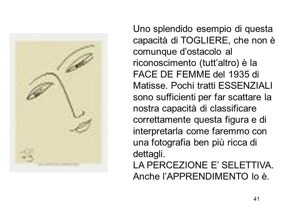 41 Uno splendido esempio di questa capacità di TOGLIERE, che non è comunque dostacolo al riconoscimento (tuttaltro) è la FACE DE FEMME del 1935 di Matisse.